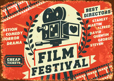 Grunge retro film festival poster. Vector illustration Stock Photos