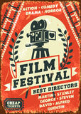 Grunge retro film festival poster. Vector illustration Royalty Free Stock Photo