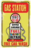 Grunge retro gas station sign. Vector illustration. Royalty Free Stock Image