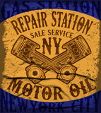 Grunge retro gas station sign. Vector illustration. Royalty Free Stock Photography