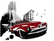 Grunge Retro- klassische Auto-Gebäudestadt Stockfotografie