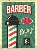 Grunge retro metal sign with barber pole. Barbershop flyer. Vintage poster. Old fashioned design. vector illustration