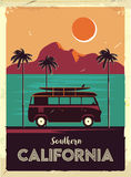 Grunge retro metal sign with palm trees and van. Surfing in California. Vintage advertising poster. Old fashioned design Royalty Free Stock Photography