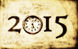 Grunge retro New Year 2015. Grunge retro 2015 with old clock replacing the number 0 royalty free illustration