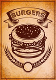 Grunge retro poster with burger for fast food Royalty Free Stock Photography