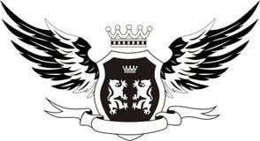 Grunge Retro- Schild mit Flügeln Stockfotografie