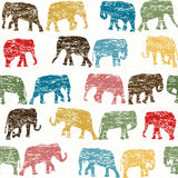 Grunge retro seamless with elephants silhouettes Royalty Free Stock Photo