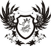 Grunge retro shield with griffon head. Vector illustration stock illustration