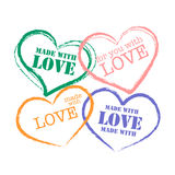 Grunge retro stamp made with love Stock Photo