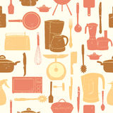 Grunge Retro vector illustration seamless pattern of kitchen too. Ls for cooking Royalty Free Stock Photos