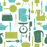 Grunge Retro vector illustration seamless pattern of kitchen too Stock Photo