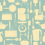 Grunge Retro vector illustration seamless pattern of kitchen too. Ls for cooking Stock Image