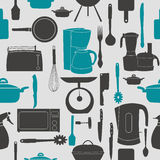 Grunge Retro vector illustration seamless pattern. Of kitchen tools for cooking Royalty Free Stock Photography
