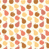 Grunge Retro Vector seamless pattern of fruit - apple and pear Royalty Free Stock Photography