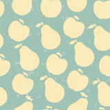 Grunge Retro Vector seamless pattern of fruit - apple and pear Stock Photo