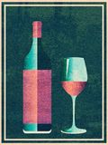 Grunge retro wine banner. Minimalist style poster with glass and bottle of wine grunge design royalty free illustration