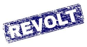 Grunge REVOLT Framed Rounded Rectangle Stamp. REVOLT stamp seal print with grunge texture. Seal shape is a rounded rectangle with frame. Blue vector rubber print stock illustration