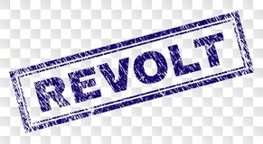Grunge REVOLT Rectangle Stamp. REVOLT stamp seal print with rubber print style and double framed rectangle shape. Stamp is placed on a transparent background vector illustration