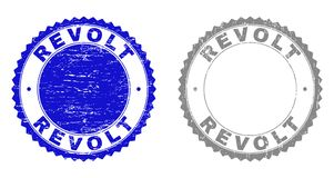 Grunge REVOLT Textured Watermarks. Grunge REVOLT stamps isolated on a white background. Rosette seals with grunge texture in blue and grey colors. Vector rubber royalty free illustration