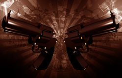 Grunge Revolvers. Gangsta Theme. Grunge Dark Brown Background with Dirty Rays and Two Smoking Gangsta Revolvers. Cool Outlaw Theme. Horizontal 3D Render Royalty Free Stock Photos