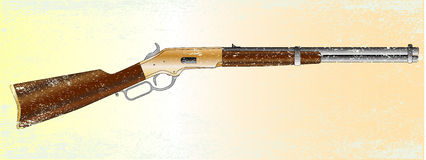 Grunge Rifle. A typical wild west rifle isolated on a grunge background Royalty Free Stock Photo