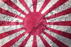 Grunge Rising Sun Japan flag. Japan flag with grunge texture. Grunge flag royalty free stock images