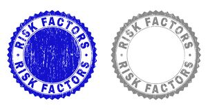 Grunge RISK FACTORS Textured Stamp Seals. Grunge RISK FACTORS stamp seals isolated on a white background. Rosette seals with distress texture in blue and grey vector illustration