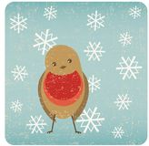 Grunge robin Christmas card Stock Photo