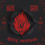 Grunge, rock festival background template. Black, torn paper background. Hole in black paper. Vector illustration Royalty Free Stock Image