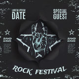 Grunge, rock festival background template. Royalty Free Stock Photos