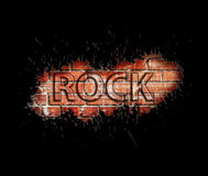 Grunge rock music poster. On red brick wall Royalty Free Stock Images