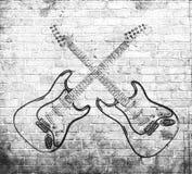 Grunge rock music poster. On brick wall Stock Photography