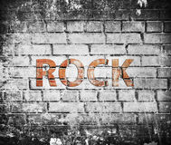 Grunge rock music poster. On red brick wall Royalty Free Stock Photos
