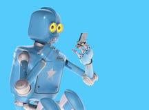 Grunge rocznika robota spojrzenie na telefonie komórkowym świadczenia 3 d royalty ilustracja