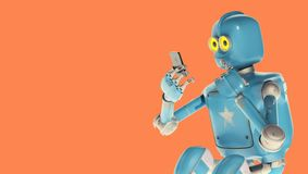 Grunge rocznika robota spojrzenie na telefonie komórkowym świadczenia 3 d ilustracji