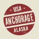 Grunge rocznika round znaczek z teksta zakotwienie, Alaska Ilustracji