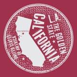 Grunge rocznika round znaczek z tekstem Kalifornia Obraz Stock