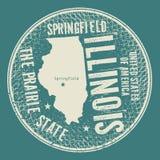 Grunge rocznika round znaczek z tekstem Springfield, Illinois Fotografia Royalty Free