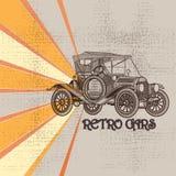 Grunge rocznika tło z samochodem w retro stylu Obraz Stock