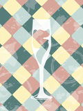 Grunge rocznika tło z szampańskim szkłem Restauracja Zdjęcia Royalty Free