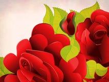 Grunge rode rozen met bladeren Stock Foto's