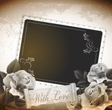 Grunge, romantic, vintage background with roses Royalty Free Stock Images