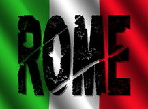 Grunge Rome text with flag Stock Photos