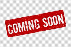 Grunge rood Komend spoedig vierkant rubber vector illustratie
