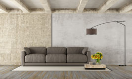 Grunge room with modern sofa Royalty Free Stock Images