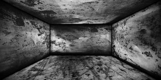 Grunge room, old room. Old abandoned room of gray Royalty Free Stock Images