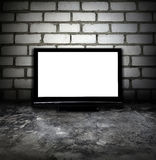 Grunge room and plasma TV Stock Photos