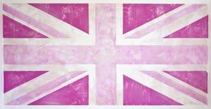 Grunge rosado Union Jack Imágenes de archivo libres de regalías