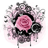 Grunge rose. Rose illustration on detailed decorative grunge background Royalty Free Stock Image