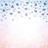 Grunge rose quartz in serenity color hearts background Royalty Free Stock Photo